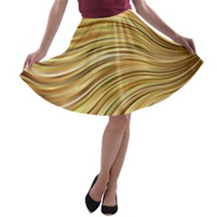 Chic Festive Gold Brown Glitter Stripes A Line Skater Skirt