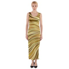 Chic Festive Gold Brown Glitter Stripes Fitted Maxi Dress