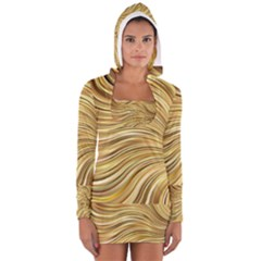 Chic Festive Gold Brown Glitter Stripes Women s Long Sleeve Hooded T-shirt