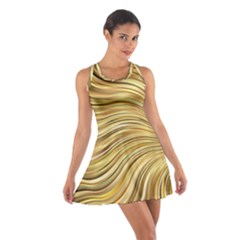 Chic Festive Gold Brown Glitter Stripes Racerback Dresses