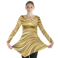 Chic Festive Gold Brown Glitter Stripes Long Sleeve Tunic