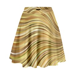 Chic Festive Gold Brown Glitter Stripes High Waist Skirt