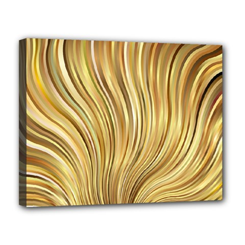 Gold Stripes Festive Flowing Flame  Canvas 14  x 11
