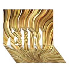 Gold Stripes Festive Flowing Flame  Girl 3d Greeting Card (7x5)