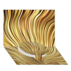 Gold Stripes Festive Flowing Flame  Circle Bottom 3D Greeting Card (7x5)