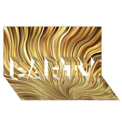Gold Stripes Festive Flowing Flame  PARTY 3D Greeting Card (8x4)