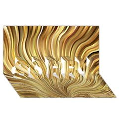 Gold Stripes Festive Flowing Flame  SORRY 3D Greeting Card (8x4)