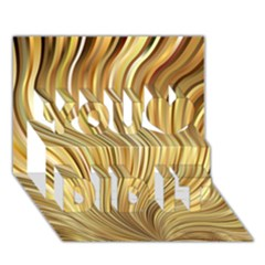 Gold Stripes Festive Flowing Flame  You Did It 3d Greeting Card (7x5)