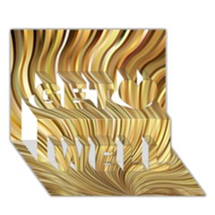 Gold Stripes Festive Flowing Flame  Get Well 3D Greeting Card (7x5)