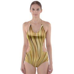Gold Stripes Festive Flowing Flame  Cut Out One Piece Swimsuit
