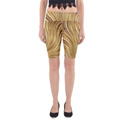Gold Stripes Festive Flowing Flame  Yoga Cropped Leggings