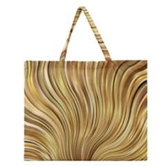 Gold Stripes Festive Flowing Flame  Zipper Large Tote Bag
