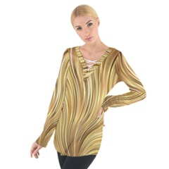 Gold Stripes Festive Flowing Flame  Women s Tie Up Tee