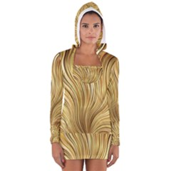 Gold Stripes Festive Flowing Flame  Women s Long Sleeve Hooded T Shirt