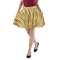 Gold Stripes Festive Flowing Flame  A-Line Pocket Skirt