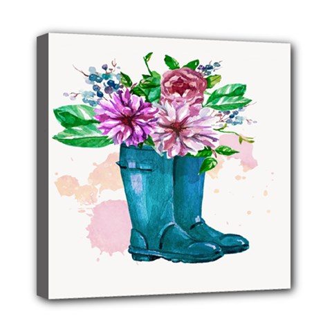 Cute Watercolor Boots With Flowers  Mini Canvas 8  x 8