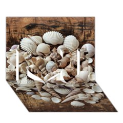 Tropical Sea Shells Collection, Copper Background I Love You 3D Greeting Card (7x5)