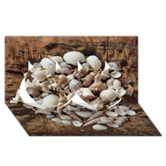 Tropical Sea Shells Collection, Copper Background Twin Hearts 3D Greeting Card (8x4)
