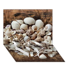 Tropical Sea Shells Collection, Copper Background LOVE Bottom 3D Greeting Card (7x5)