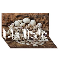 Tropical Sea Shells Collection, Copper Background BELIEVE 3D Greeting Card (8x4)