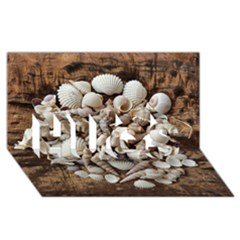 Tropical Sea Shells Collection, Copper Background HUGS 3D Greeting Card (8x4)