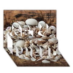 Tropical Sea Shells Collection, Copper Background Get Well 3d Greeting Card (7x5)