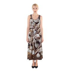Tropical Sea Shells Collection, Copper Background Sleeveless Maxi Dress