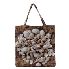 Tropical Sea Shells Collection, Copper Background Grocery Tote Bag