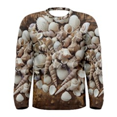 Tropical Sea Shells Collection, Copper Background Men s Long Sleeve Tee