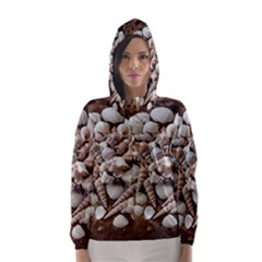 Tropical Sea Shells Collection, Copper Background Hooded Wind Breaker (women)