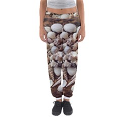 Tropical Sea Shells Collection, Copper Background Women s Jogger Sweatpants