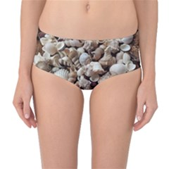 Tropical Sea Shells Collection, Copper Background Mid-Waist Bikini Bottoms