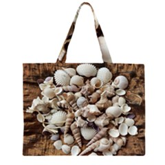 Tropical Sea Shells Collection, Copper Background Large Tote Bag