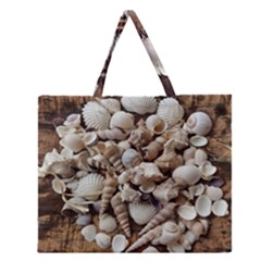 Tropical Sea Shells Collection, Copper Background Zipper Large Tote Bag
