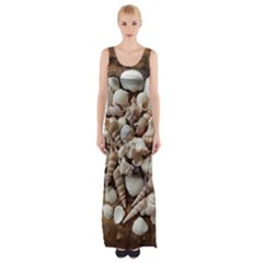 Tropical Sea Shells Collection, Copper Background Maxi Thigh Split Dress