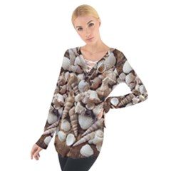 Tropical Sea Shells Collection, Copper Background Women s Tie Up Tee
