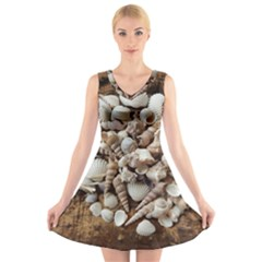 Tropical Sea Shells Collection, Copper Background V-Neck Sleeveless Skater Dress