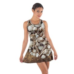 Tropical Sea Shells Collection, Copper Background Racerback Dresses