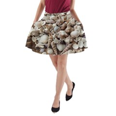 Tropical Sea Shells Collection, Copper Background A-Line Pocket Skirt
