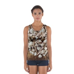 Tropical Sea Shells Collection, Copper Background Tops
