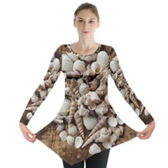 Tropical Sea Shells Collection, Copper Background Long Sleeve Tunic
