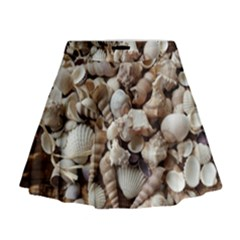 Tropical Sea Shells Collection, Copper Background Mini Flare Skirt