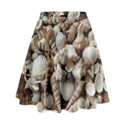 Tropical Sea Shells Collection, Copper Background High Waist Skirt