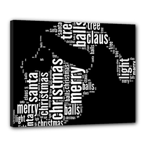 Funny Santa Black And White Typography Canvas 20  x 16