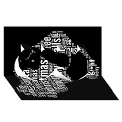 Funny Santa Black And White Typography Twin Hearts 3d Greeting Card (8x4)