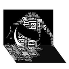 Funny Santa Black And White Typography Circle 3D Greeting Card (7x5)