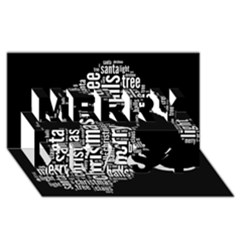 Funny Santa Black And White Typography Merry Xmas 3d Greeting Card (8x4)