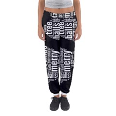 Funny Santa Black And White Typography Women s Jogger Sweatpants