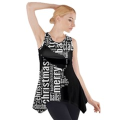 Funny Santa Black And White Typography Side Drop Tank Tunic
