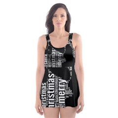 Funny Santa Black And White Typography Skater Dress Swimsuit